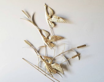 Vintage metal wall sculpture with birds and reeds | wall decor |