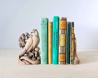 Vintage pair of bird bookends | Durwood book ends by John Walter and Sons | pheasant peacock bookends |
