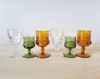 Vintage wine glasses | curated collection of six multi colored goblets | boho wedding decor | holiday table |