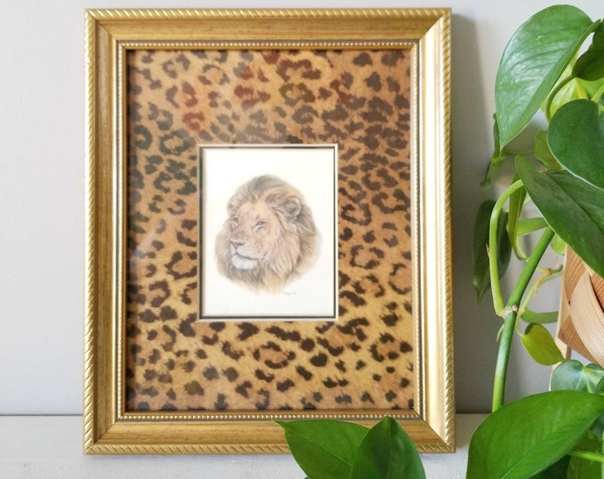Vintage lion framed art print | eighties artwork | leopard print |