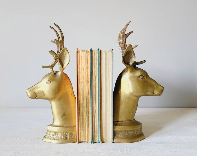 Vintage brass deer bookends statues | deer figurines | brass sculpture | buck and doe book ends |