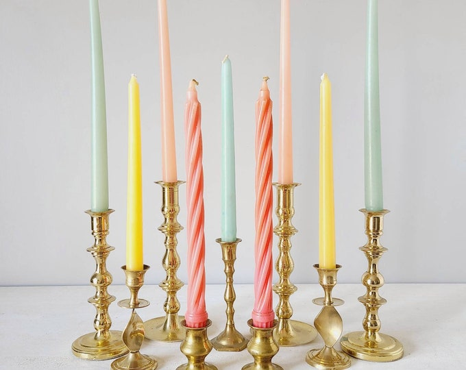 Vintage brass candlestick holders mixed set of 9 | brass candle sticks | Bohemian home decor |