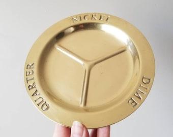 Vintage brass change dish | office decor desk accessories |