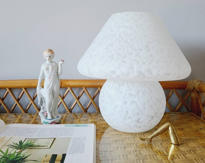"Vintage Murano glass mushroom lamp | medium 11"" accent lamp 