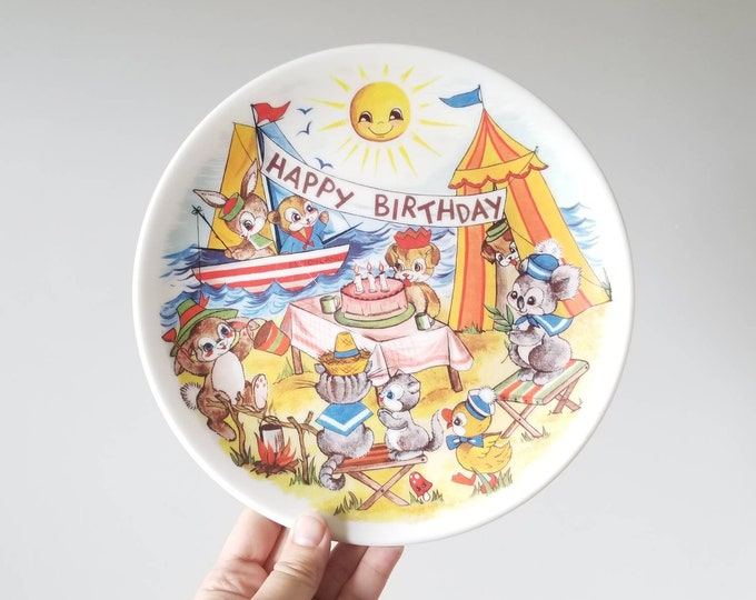 Vintage Ornamin children's plates set of 5 | Retro kitchen dishes | Mid century