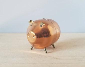 Vintage copper and brass piggy bank | nursery decor | office decor | money bank | money box | kids room | brass decor |