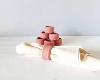 Vintage dusty rose napkin rings set of 8   entertaining decor   hostess gift   holiday table setting  