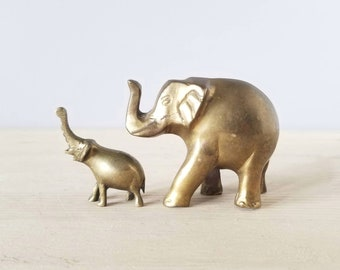 Vintage brass elephant pair | mama and baby elephants | brass animals |