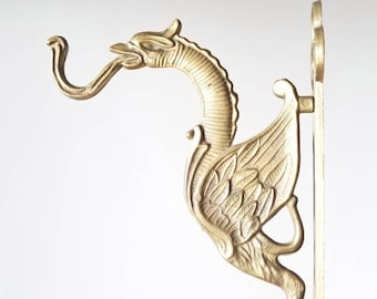 Vintage large brass dragon hook | Asian style brass coat hook | plant hook |