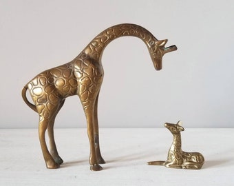 Vintage brass giraffe mom and baby | brass animal figurine statues |