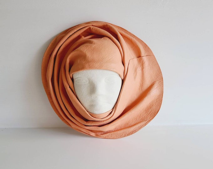 Vintage leather face wall hanging | sculpted woman's face | 90s | leather face wall mask |