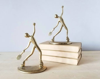 Vintage brass tennis player bookends | mid century  modern bookends | post modern | brass decor | home office | book lover | abstract