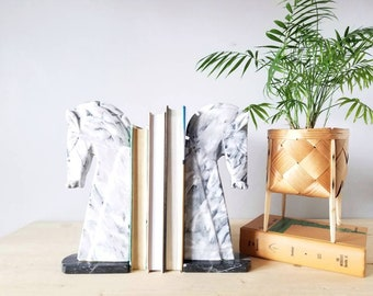 Vintage extra large onyx horse bookends | home office decor | marble book ends |
