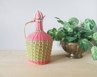 Vintage wire wrapped bottle | Scoubidou bottle | pink bottle