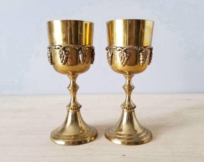 Vintage brass goblet pair | wine glasses |