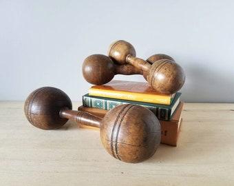 Antique wooden exercise dumbbells set of three | barbells | shelf decor | man cave |