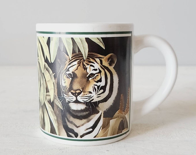 Vintage tiger coffee mug | jungle theme | eighties mug | tea cup |