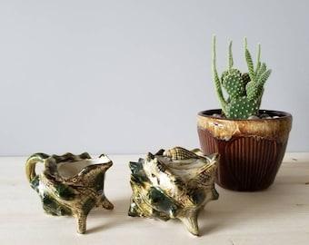 Vintage cream and sugar set | Florida souvenir shells