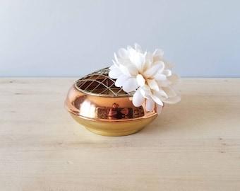 Vintage brass and copper flower bowl | flower frog | floral arrangement |