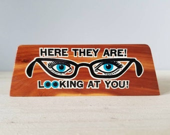 Vintage wood eye glasses holder mud century modern |