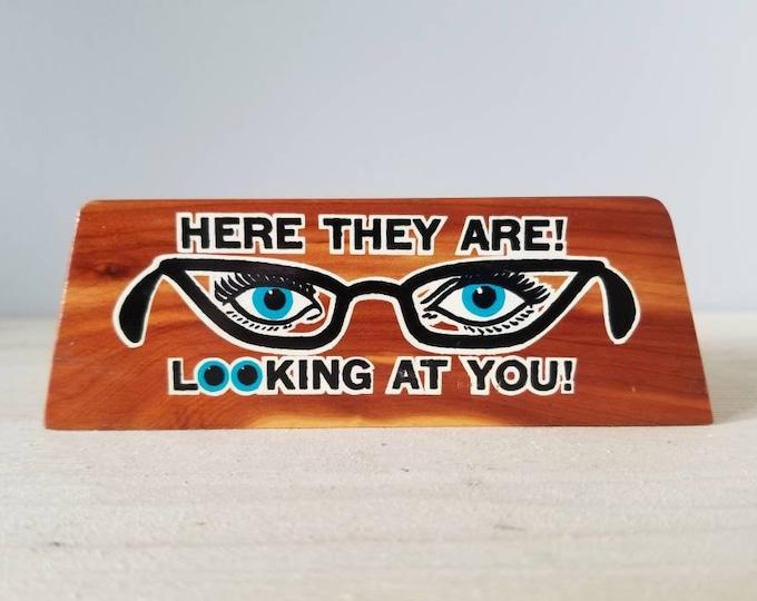 Featured listing image: Vintage wood eye glasses holder mud century modern |