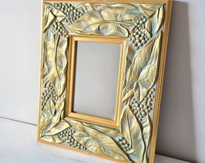 Vintage framed mirror | tropical plant motif | elephant ear alocasia |