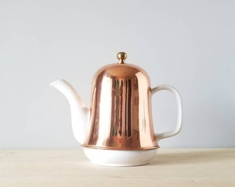 Vintage Teapot with copper cozy | Vintage white ceramic tea pot | copper cover | Bohemian home decor | Farmhouse | kitchen | entertaining |