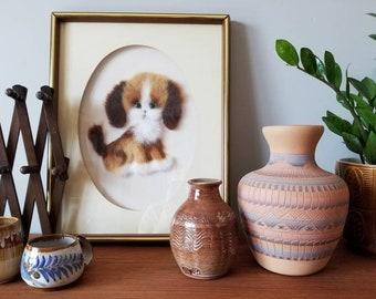 Vintage puppy dog framed artwork made from felt | nursery decor |