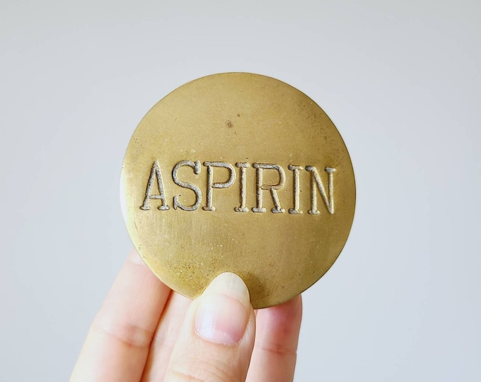 Vintage brass Aspirin pill box | trinket box | stash box |