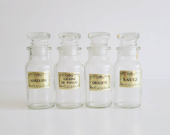Vintage French spice jar set of 4 | made in Taiwan | French kitchen |