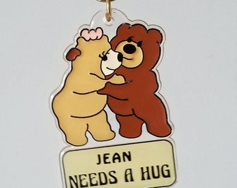Vintage 80s keychain Jean needs a hug | fun eighties name key chain |