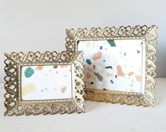 Vintage filigree metal ornate picture frame pair | art nouveau photo frames | bedroom decor |