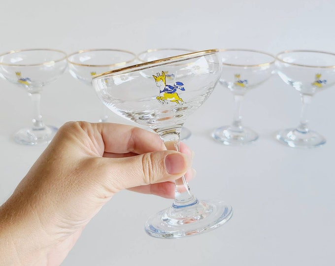 Vintage Babycham coupe champagne glasses set of 6 | Barware | Cocktail | Mid century