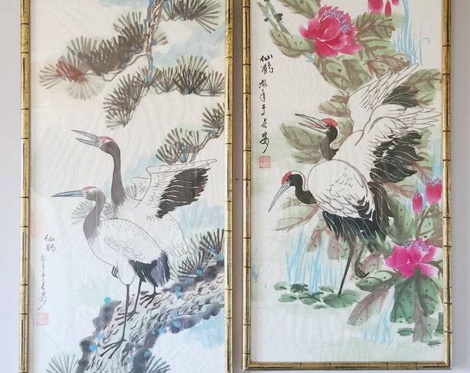 Framed pair watercolor crane paintings   Asian original artwork   vintage art   large scale  
