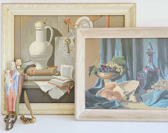 Vintage still life paint by number painting pair   mid century decor   pbn   kitschy decor   Victorian vibes   macabre  