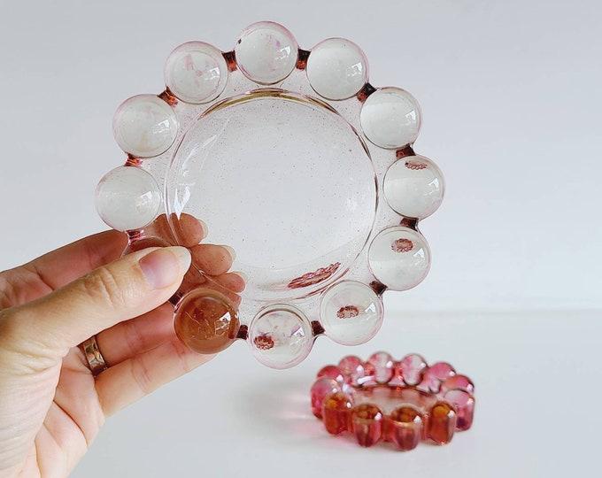 Vintage pinky purple bubble glass ashtray | trinket dish | Anchor Hocking |