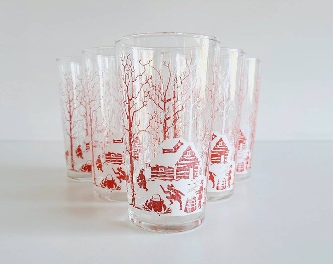 Vintage juice glasses with winter scene | set of 6 | vintage barware | cottage core | Christmas decor