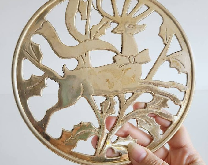 Vintage brass Christmas trivet | reindeer and Holly pattern brass wall decor |