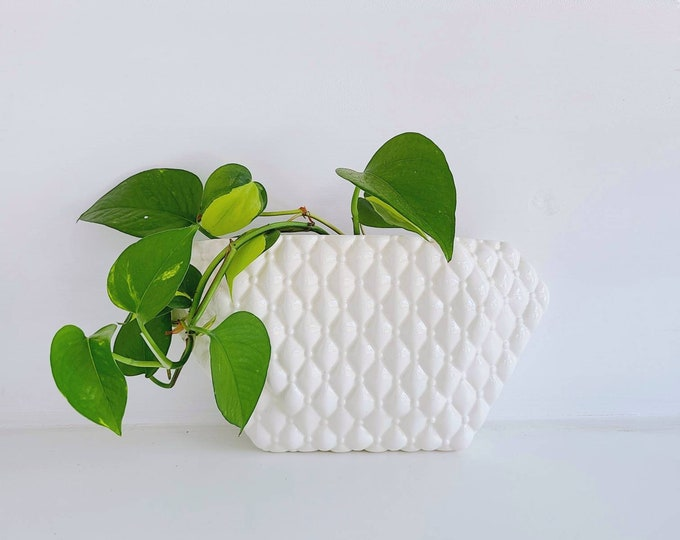 Vintage wall pocket planter | Arnel's white wall pocket | Ceramic vase airplant holder |