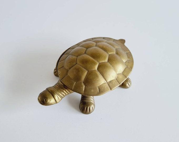 Vintage brass turtle trinket box | tobacciana | oddities | brass reptile