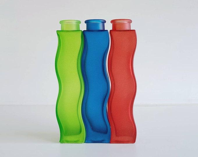 Vintage Ikea squiggle vase trio | flower vase | wavy vase | Skämt vase | blue green red
