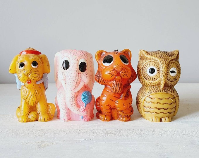 Vintage Animal Delights candles   hand painted candle   tiger candle   monkey candle   elephant candle   dog candle   each sold separately  