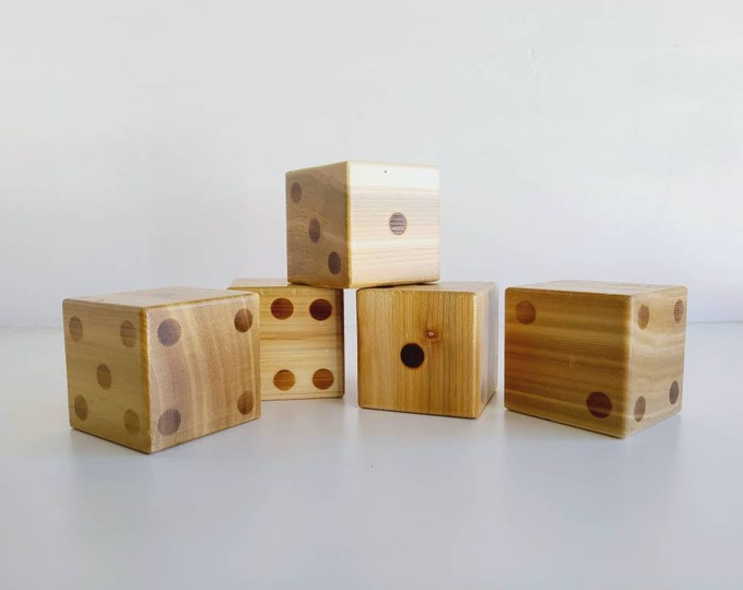Vintage large wood dice | set of 5 wooden dice | home decor | family games |