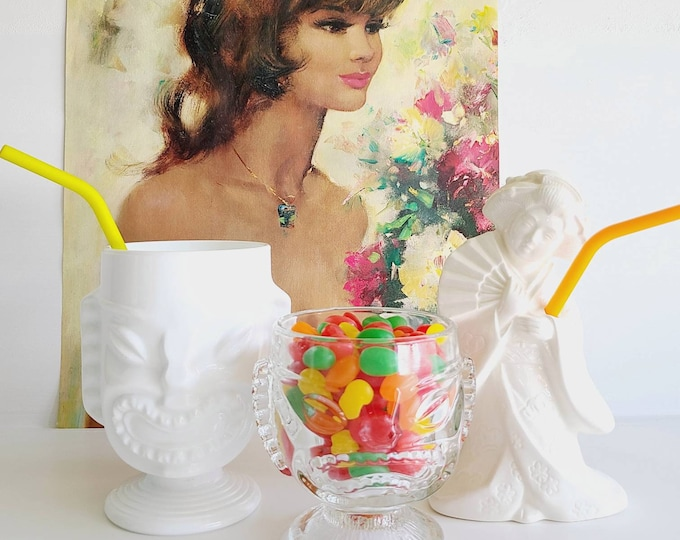 Vintage Benihana style mug | Geisha tiki cup | goblet | vase |Bohemian decor | Kitschy decor |