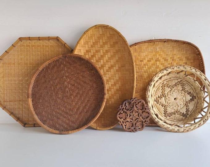 Basket wall set | vintage woven baskets | wicker basket | wall basket set |