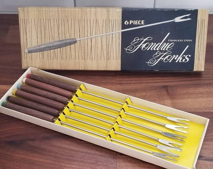 Vintage fondue forks | set of forks | stainless steel forks | wooden handle | multi color | seventies | retro kitchen | bohemian decor |