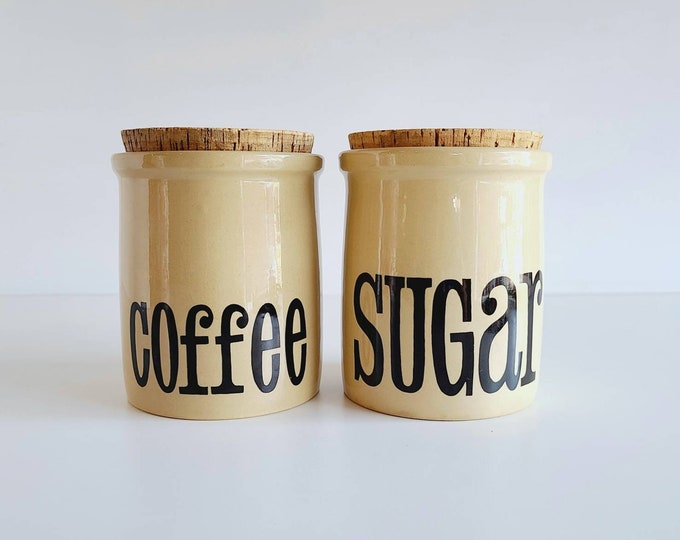 Vintage TG green cannister pair kitchen storage | stoneware storage containers coffee and sugar | typography |