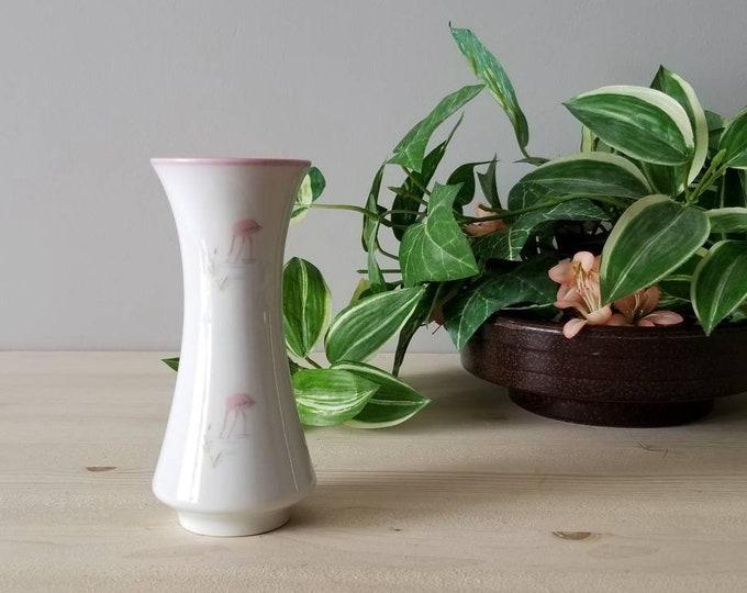 Vintage flamingo porcelain vase | Bavarian China flower vase |