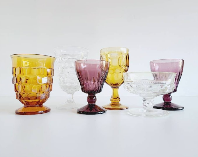 Vintage wine / cordial glasses | curated collection of six multi colored goblets | wedding decor | holiday table |