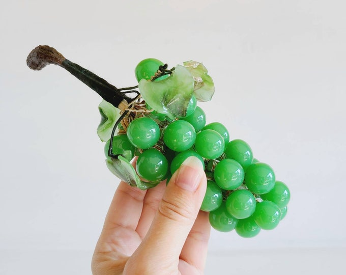 Vintage glass bunch of grapes   green glass grapes   glass fruit   fun fruit decor   decorative grape clusters   bunch of grapes  